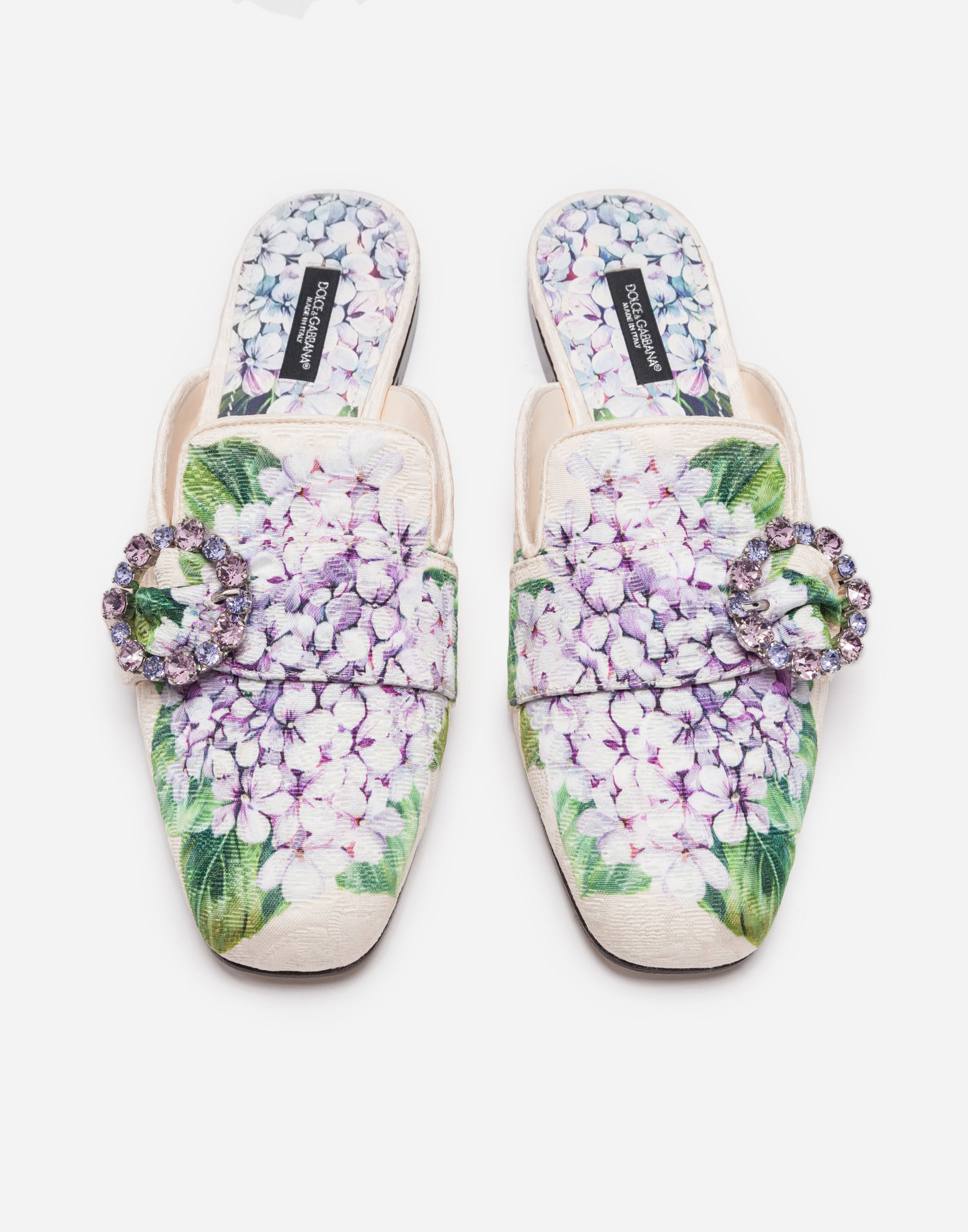 4d23accf1 DOLCE   GABBANA-Printed Brocade Slippers with Bejeweled Buckle