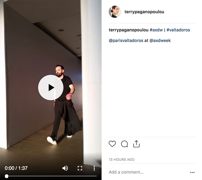Valtadoros στη Athens Xclusive Designers Week - instagram video Terry Paganopoulou