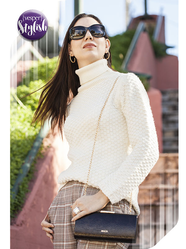 Vesper Stylish - Plaid & Knit outfit of the day