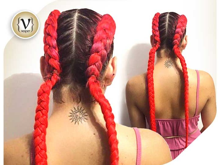 Hairstyle Trends: French Braids with colored extensions